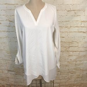 Tops - Susan Graver 12 white long sleeve tunic EUC blouse